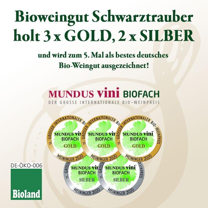 Bio-Weingut Schwarztrauber holt 3 x Gold und 2 x Silber
